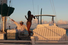 Romantic sailing into the sunset
